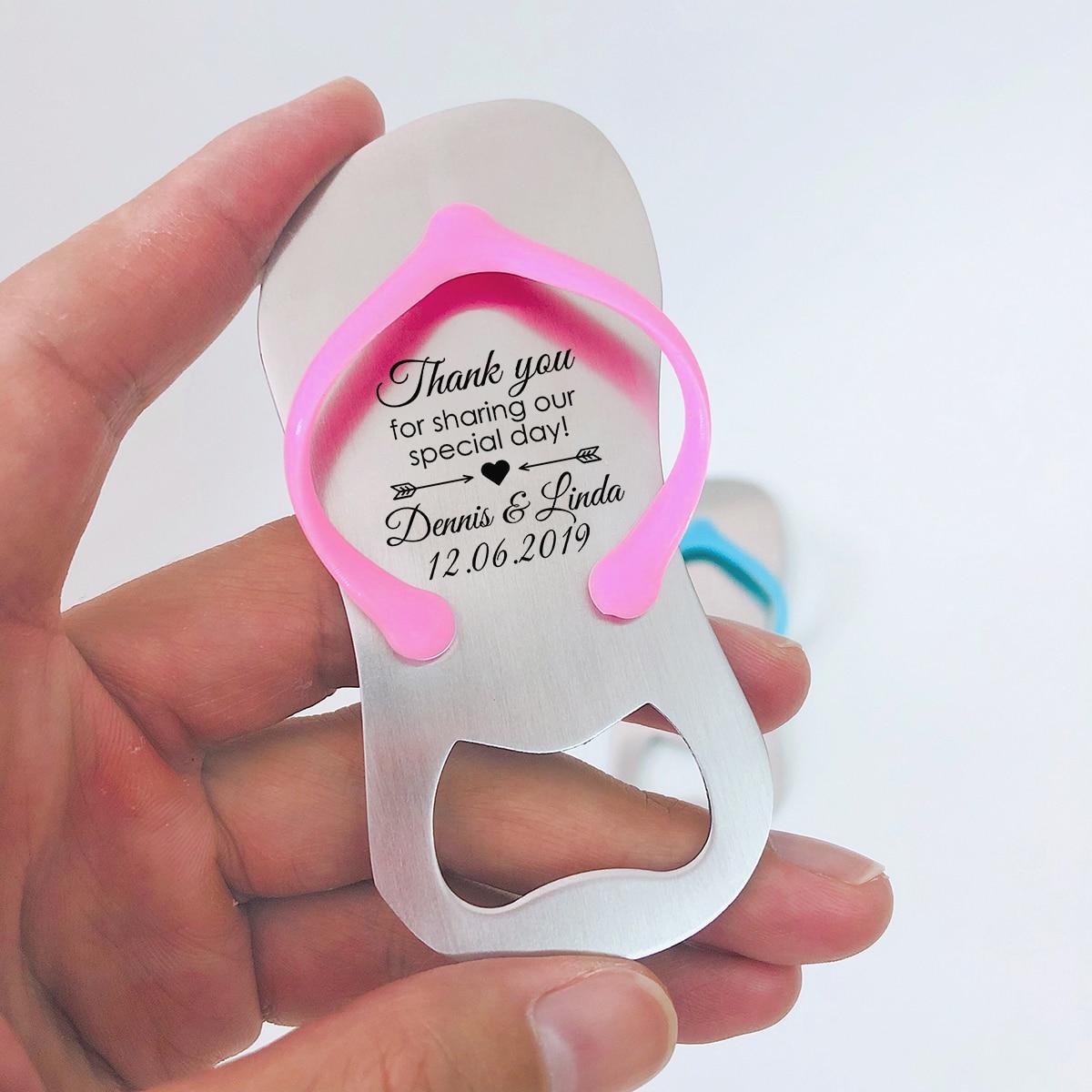 20pcs Custom Blue Pink Sandal Flip Flop Bottle Opener Personalized Wedding Gift Souvenir Bridal Shower Favor