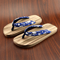 Couples Slippers Women/Men's Flip Flops Flat Shoes Natural Wood Cotton Fabric Med Heel Sandals Japan Geta/Cosplay Shoes 35-44