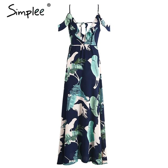 Simplee Backless tie up ruffles print long summer dress Strap v neck high split maxi dress Sexy summer beach chiffon dress