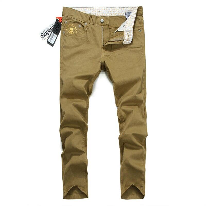 ФОТО 2017 Newly Spring Summer Fashion Men Jeans Yellow Color Designer Skull Printing Pocket Straight Slim Jeans Men Casual Long Pants