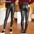 2016 Outono Finas calças de Cintura Alta Botões Calças Lápis Magros Leggings Calças Stretch Leggings de Couro Nove Mulheres Calças Pretas