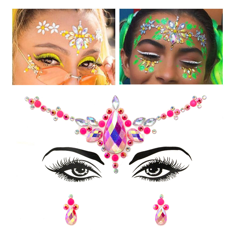 Makeup Body Shining Festival Flash Tattoos Body Art Stickers Adhesive Face Gems Rhinestone Temporary Tattoo Jewels Festival