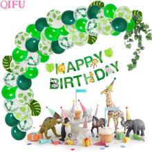 QIFU Palm Leaf Balloons Jungle Party Supplies Tropical Summer Safari Decor Theme Birthday Baby Shower