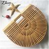 New 2018 Summer Half Round Handmade Bamboo Beach Bag Environmental Circular Basket Bamboo Bags Rural Countryside