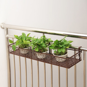 Image 2 - Balcony hanging flower stand iron frame plant stand outdoor decoration display metal frame