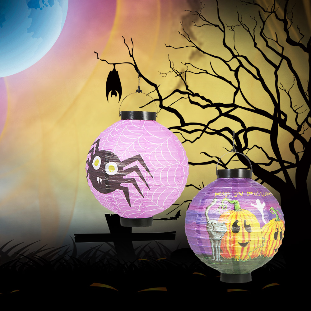 US $8 83 OFF 5pcs set Foldable Halloween Paper Lantern with LED Lights Hanging Pumpkin Lanterns Lamp Decorations Random Pattern decoration