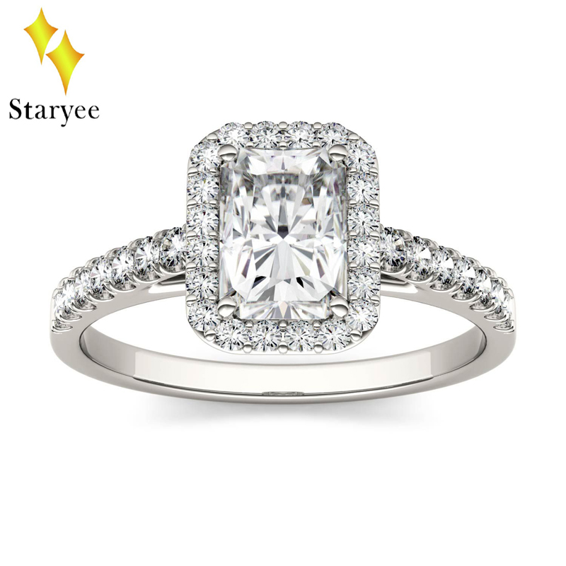 Colorless 1.2ct Radiant Cut VVS Charles Colvard Moissanite Engagement Ring 14K 585 White Gold Forever One Moissanite Halo Rings