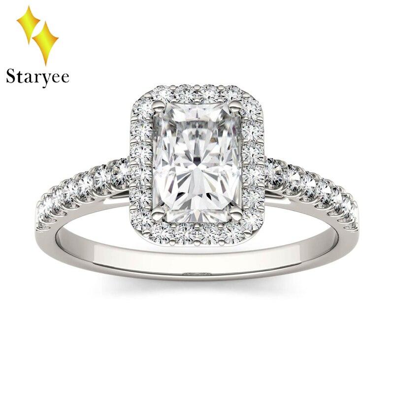 Incoloro 1.2ct radiante corte VVS Charles Colvard Moissanite anillo de compromiso 14 K oro blanco 585 para siempre un Moissanite anillos de Halo