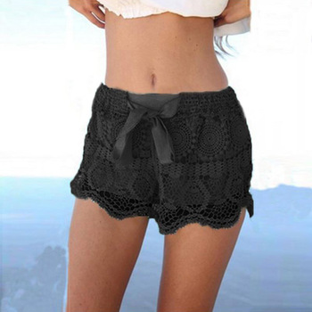 Lace Beach Shorts with Tiered Elastic Waist 2