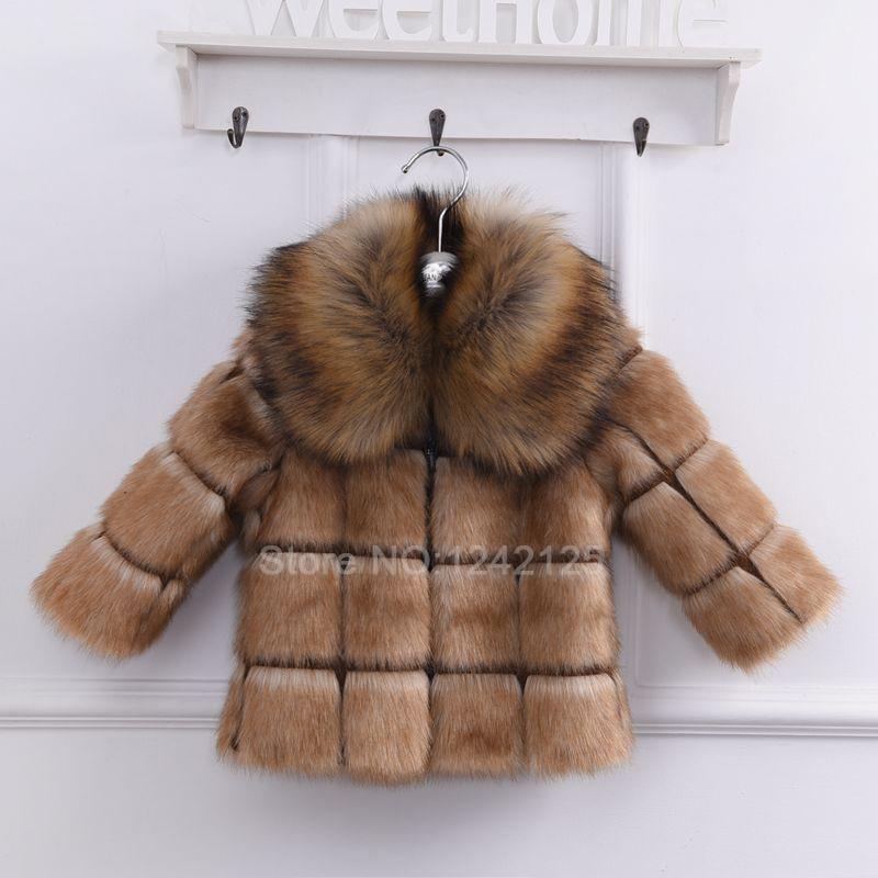 ФОТО new autumn winter children faux coat girl boy clothing fox collar thickening faux mink rabbit fur jacket outerwear coat overcoat