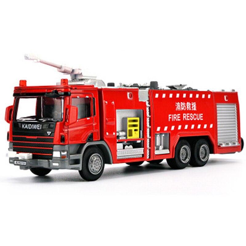 Brinquedos de água fogo motor caminhão liga diecast 150 modelo superior canhão água rotatable 360 graus girar incêndio resgate crianças brinquedos