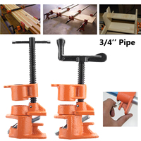 3/4 Inch Heavy Duty Pipe Clamp Straight/Crank Handle Fixture Professional Wood Gluing Pipe Clamp Woodworking Tool