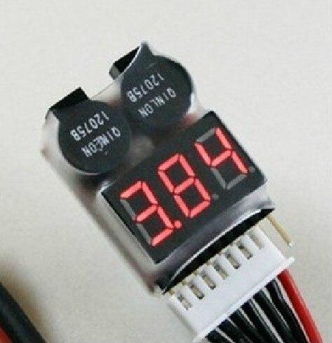 1pcs 1 8S Low Voltage Buzzer Alarm 1 8S Lipo Li ion Fe Battery Voltage 2IN1