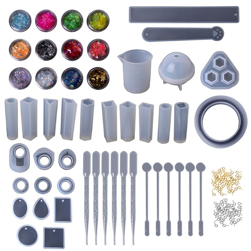 1 Set Epoxy Resin Kit DIY Jewelry Making Tools Shiny Powder Cup Silicone Mold Necklace Pendant Ring Gifts Handmade Creative