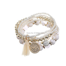 ZOSHI Bohemia Beach Style Brand Jewelry multi layers Bracelet Alloy Color Acrylic Beads Rope Chain Bracelets For Women pulseira