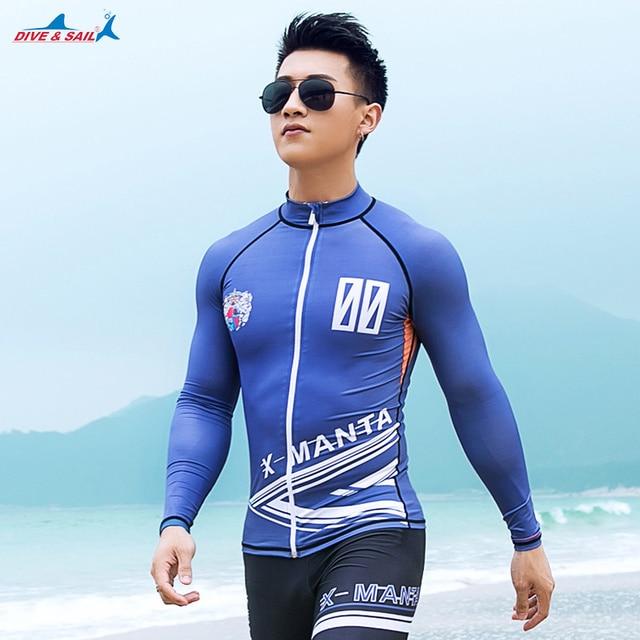 1a7da6d91ffa6 2017 Hot Long Sleeve Swimming T Shirt / Leggings Men UPF 50+ Swimwear Rash  Guard Man Beach Sun UV Protection Diving Surfing Suit