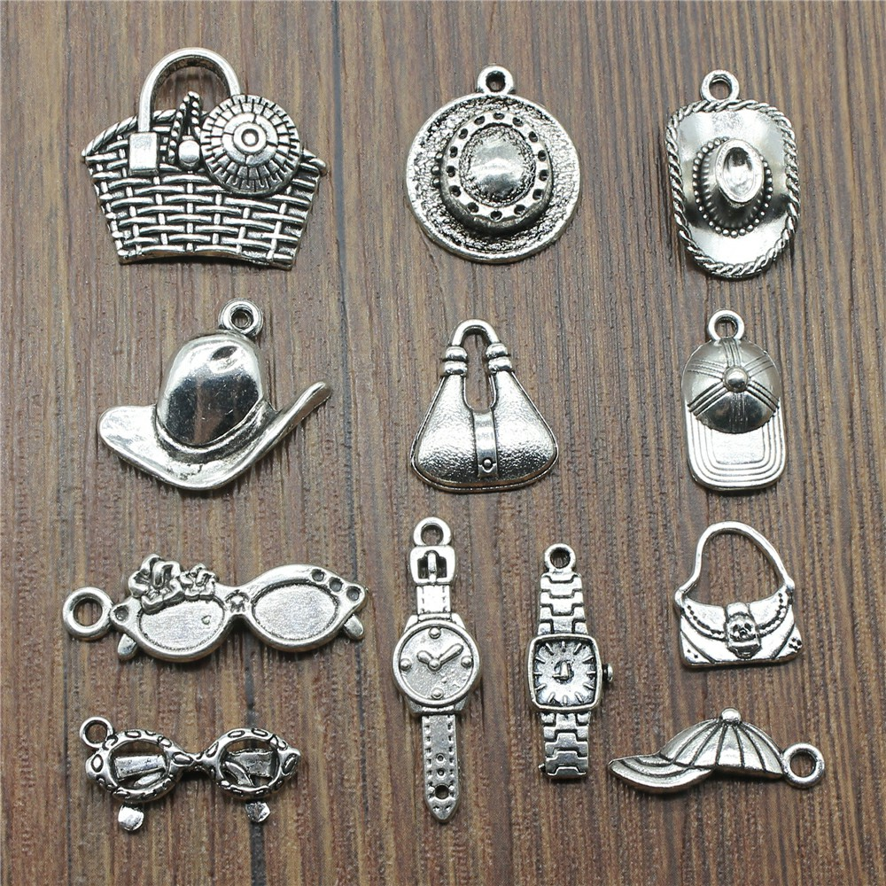 Hat Charms Sunglasses Charms Jewelry Making Watch Charms Jewelry Accessories Vintage Antique Silver Plated