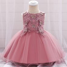 Baby Girls Flower Butterfly Lace Tulle Ball Gown Princess Dress Newborn Infant Baptism Party Formal Elegant Dresses 0-2 Y BW025(China)
