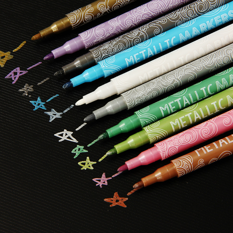 New 10 Colors Metallic Marker Pen Diy Scrapbooking Crafts Marker Pen Art Markers Pen For Stationery School Supplies