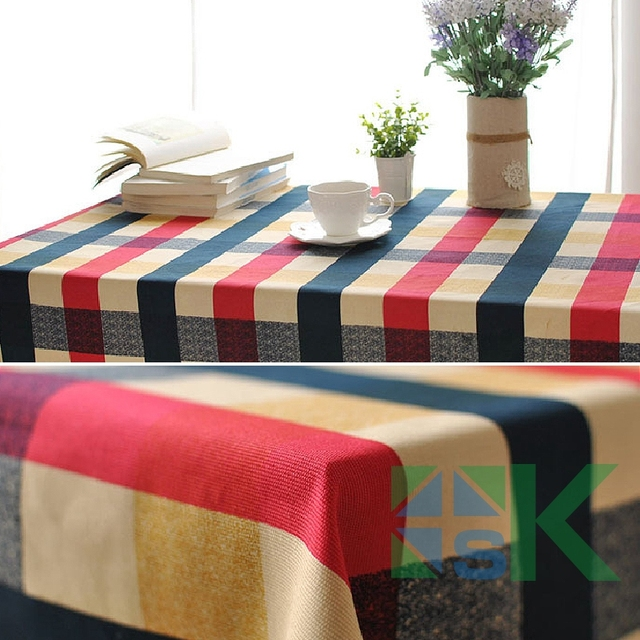 2016 summer new italian style scottish edinburgh plaid pattern table cloth rectangular table cover dustproof for