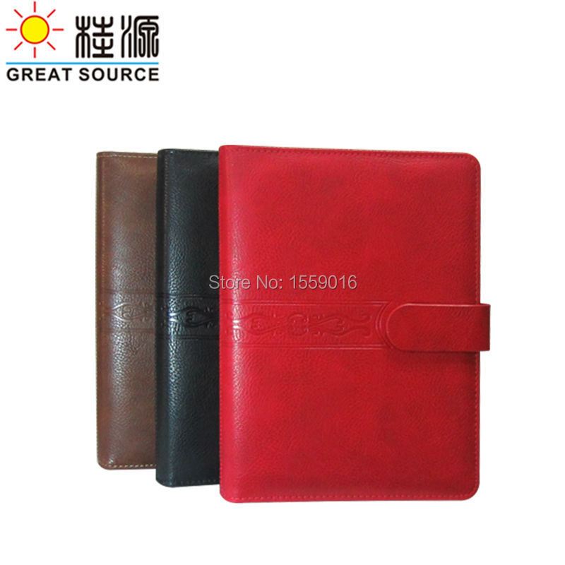 A5 Binder Folder Clear Pen Bag Colorful Stickers And Ruler Gift Set Leather Cover Embossed Floweral Cover