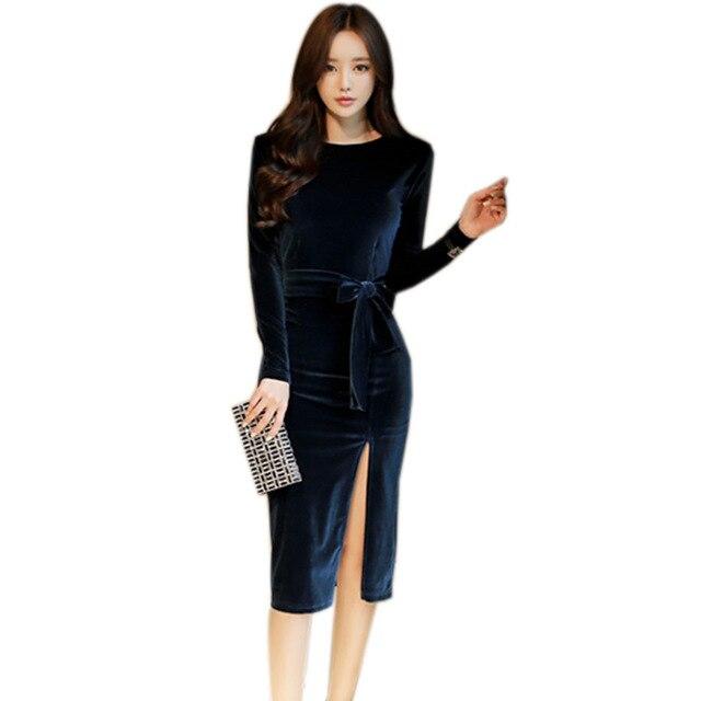 Новый 2019 Демисезонный Вельветовое платье Для женщин с длинным рукавом Высокий разрез пикантное Вечеринка Bodycon платья с поясами Vestidos 1311