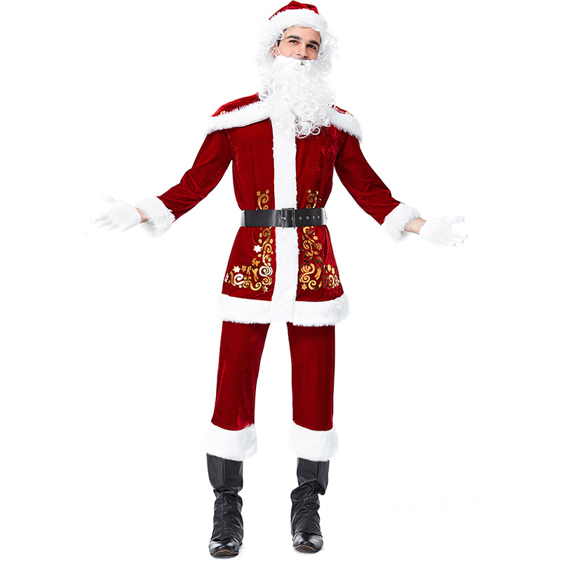 Velvet Red Santa Claus Christmas Costumes Cosplay For Man Christmas Party Cosplay
