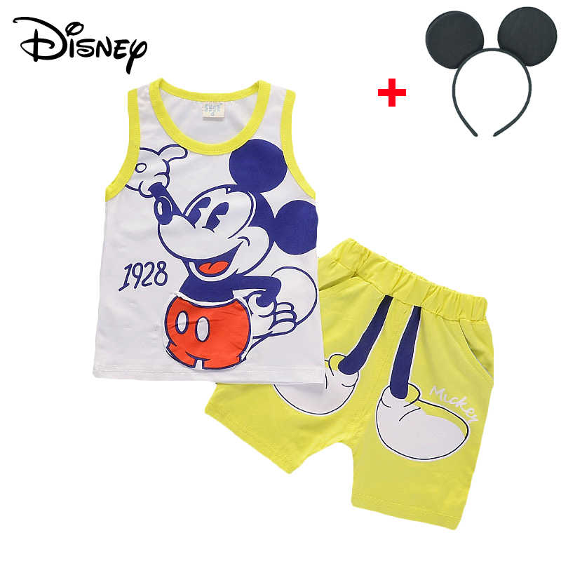 08a16180e82b5 Disney Mickey Baby Boy Clothes Spring Autumn Cute Long Sleeved Hooded  Hoodies Pants Children Outfits Kids Bebes Jogging Suits