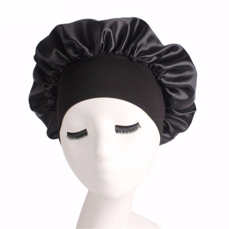 1 Pc Frauen Breite Band Satin Seide Bonnet Cap Komfortable Nacht Schlaf Kappe Damen Weiche Silk Langes Haar Pflege Motorhaube Headwrap