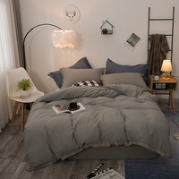 Pure Color Cotton Bedding Set Luxury Handmade Fringed Lace Comforter Bedding Sets King Size Quilt Cover Pillowcase No Sheets