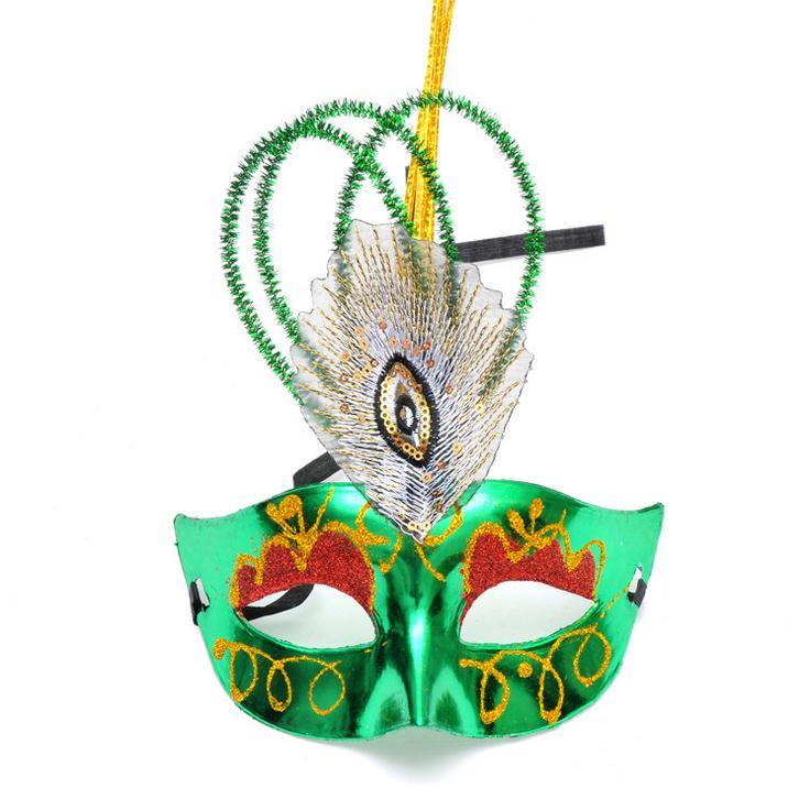 Masque plume de paon mascarade masque demi visage adulte enfants trou queue plume masque de venise mixs 50 pcs