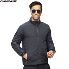 GANYANR Brand Nylon Windbreaker Jackets For Men Winter Duck Down Ski Clothing Thermal Warm Windproof Solid Coat Hiking Fishing