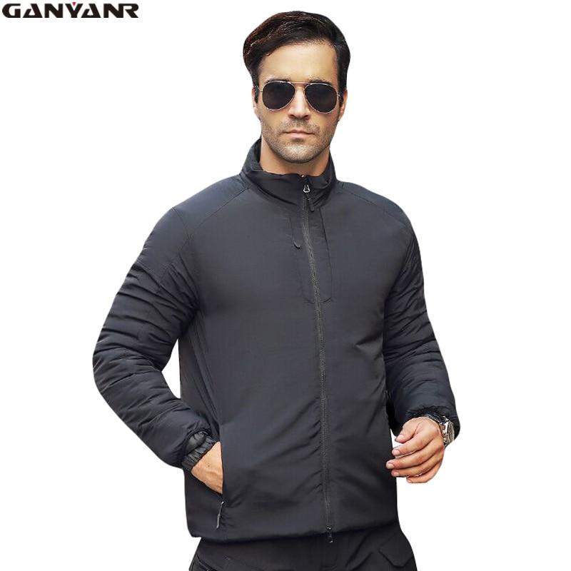 GANYANR Brand Nylon Windbreaker Jackets For Men Winter Duck Down Ski <font><b>Clothing</b></font> Thermal Warm Windproof Solid Coat Hiking Fishing