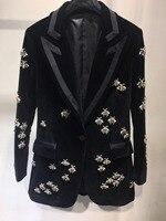 2018 Новинка осени куртка высокого качества женские бриллиантов бархатные пиджаки ddxgz3