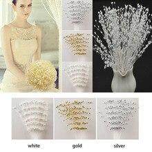10 стеблей жемчужные бусины спрей невесты Цветы Букет проволока Свадебные украшения