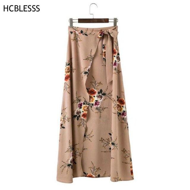 357131d7c0 HCBLESS Vintage floral print long skirts women Summer elegant beach maxi  skirt Boho high waist asymmetrical skirt