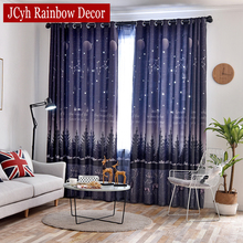 Modern Starry Sky Blackout Curtains For Living Room Hollow Window Kids Bedroom Rideaux Enfant Cortinas