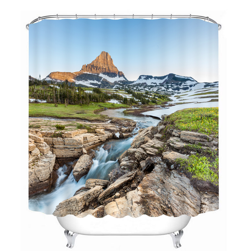 MYRU 3D Print Waterproof River Shower Curtains Bath