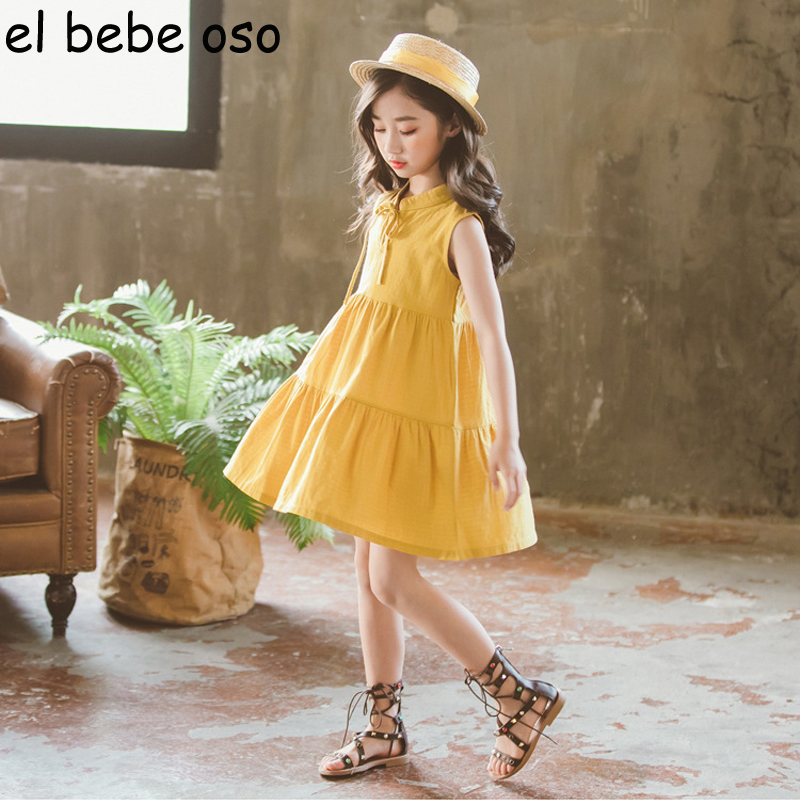 Children Clothing Kids Girls Dress New Summer Sleeveless Cute Bow A-Line Summer Girl Dresses Vintage Cotton Princess Dress XL288