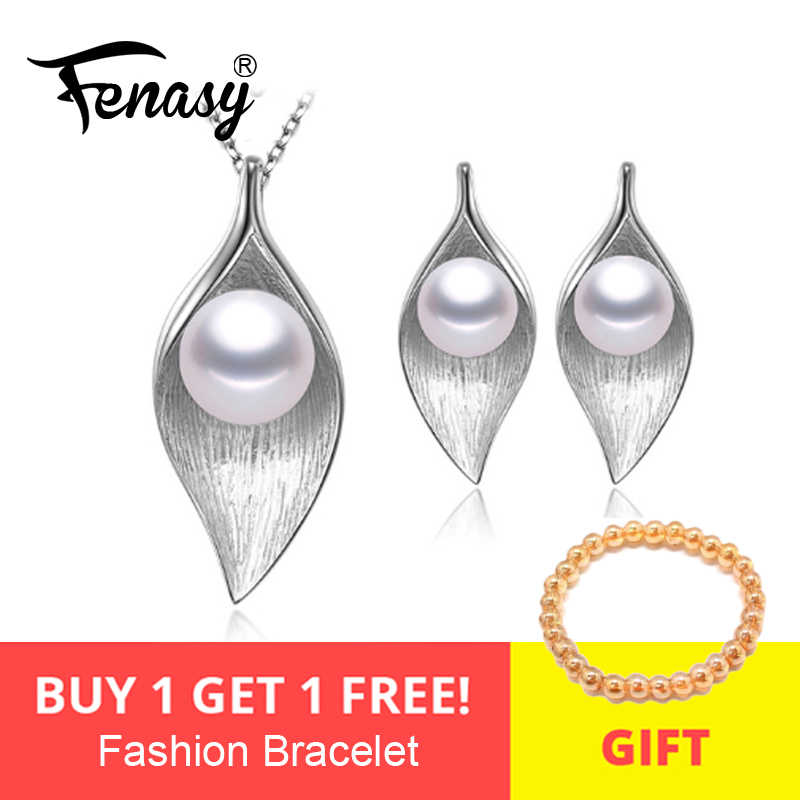 FENASY fashion leaves leaf Necklace earings freshwater Pearl Jewelry Sets for Women S925 sterling silver Pearl Necklace Earring