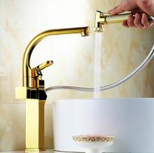 Позолоченные натяжные кухонный кран pull down смеситель для мойки, повернутого ванной бассейна кран холодной и горячей, медь долго, умывальник, смеситель