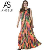 ANSELF 5XL 6XL 7XL Maxi Dress Women Plus Size Dresses Bohemian Sleeveless Print Casual Loose Pleated Beach Long Sundress vestido
