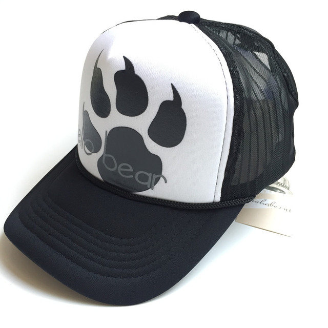 04e89a22aafb0 Unisex street fashion HELLO BEAR Mesh Baseball cap bear s paw claw men  women hat Trucker cap Gorras Bone Brim hip-hop black