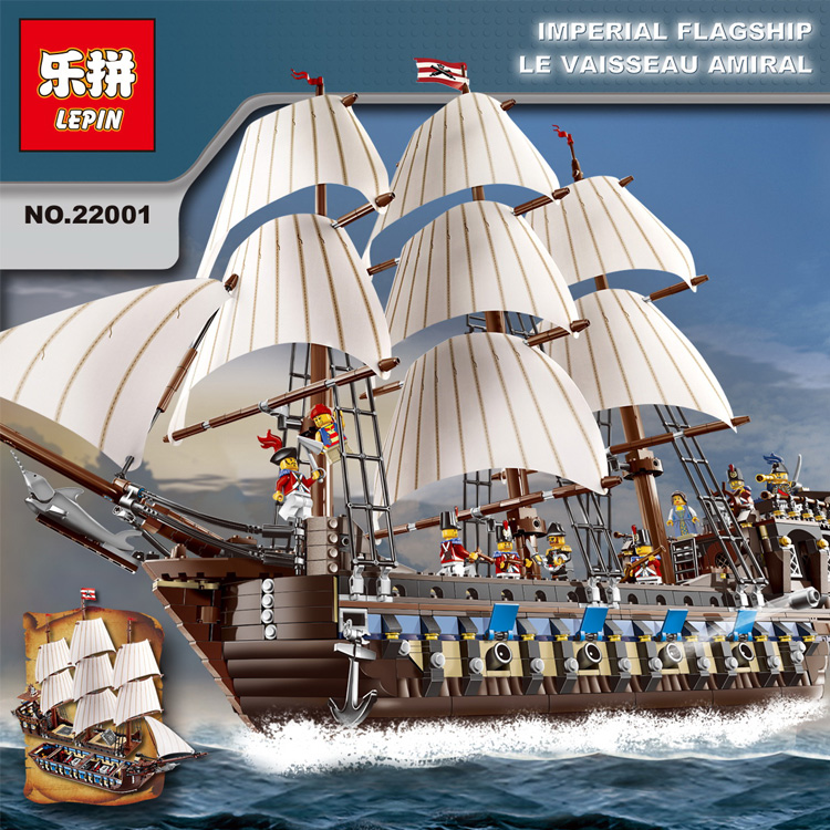 NEW LEPIN 22001 Pirate Ship Imperial warships Model Building  Block KitsToys Gift 1717pcs Compatible10210 Children birthday lepin 22001 imperial warships 16006 black pearl ship model building blocks for children pirates series toys clone 10210 4184