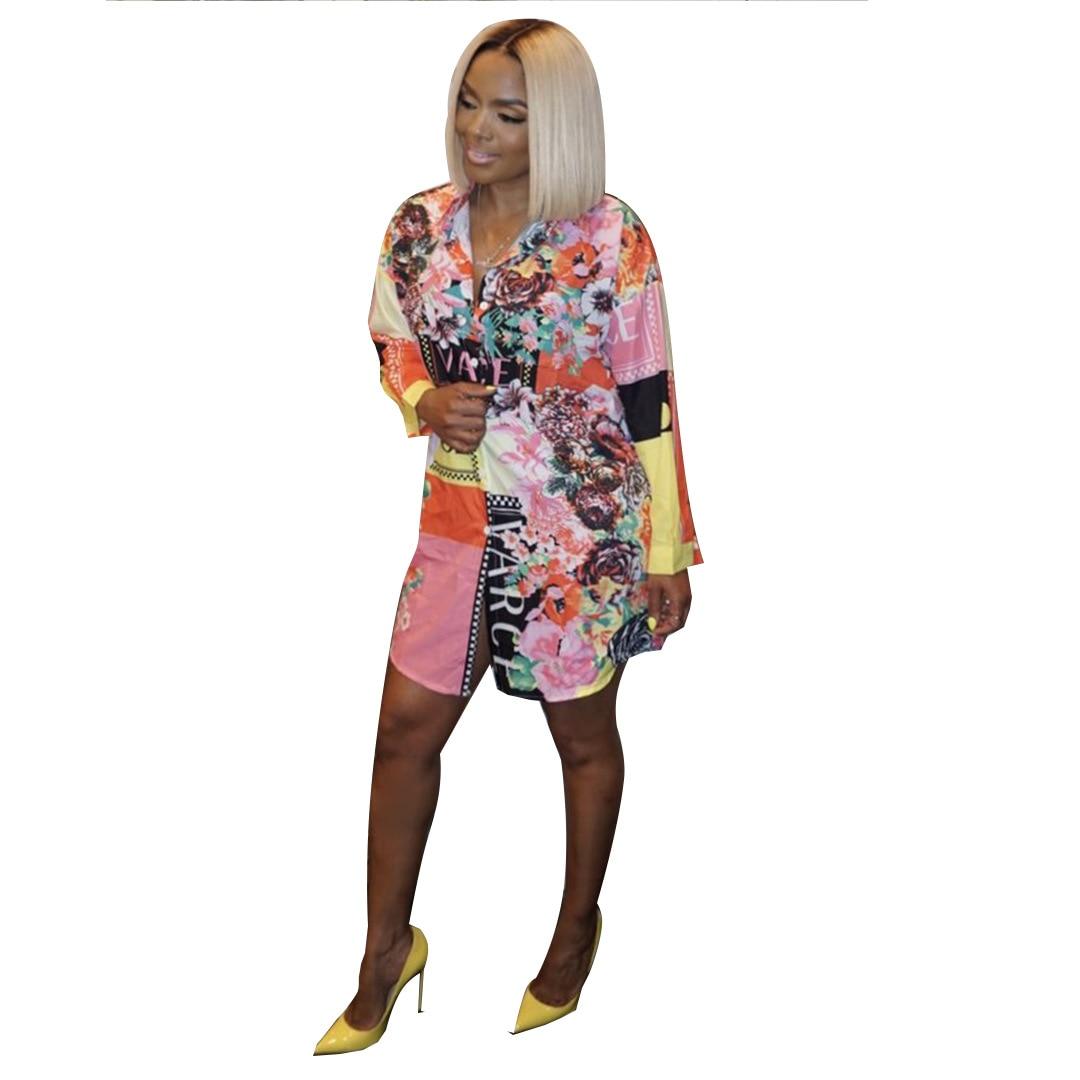2019 new women national printed long sleeve   blouses     shirts   vintage above knee mini dress vestidos S-2XL