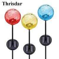 Thrisdar 6PCS RGB Solar Spike Spotlight Lawn Lamps 7 Color Crackle Glass Ball Solar Landscape Stake