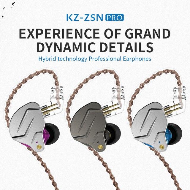 NEW KZ ZSN PRO 1BA+1DD KZ Hybrid Earphone headset HIFI Earbuds In Ear Monitor Headphones Earbuds For kz zs10 as10 zst 1