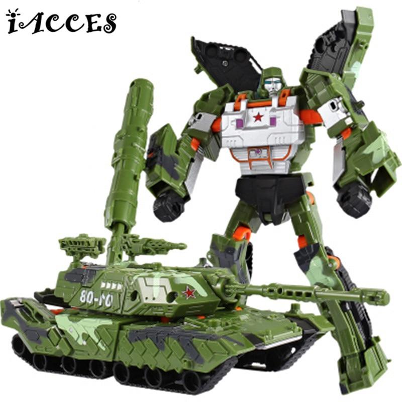 Fresco Tanque Militar Blindado Robot Deformación Coche De Plástico ABS Juguetes
