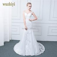 WUZHIYI Real Photo Lace Appliques Mermaid Vintage Wedding Dresses Plus Size China Bridal Gown Wedding Dress
