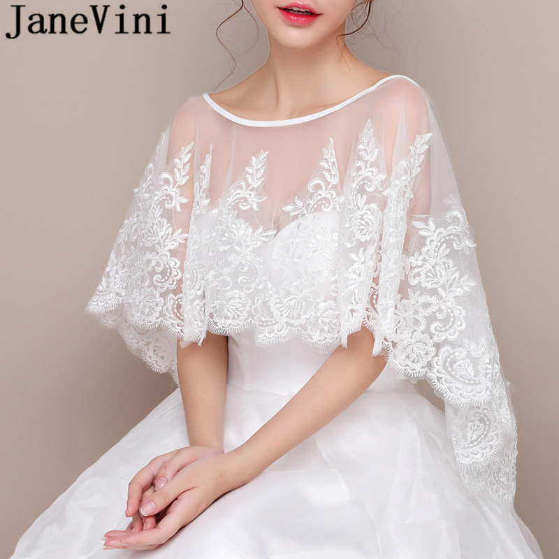 Купить с кэшбэком JaneVini Elegant Lace Bride Bolero Appliques Women Shawl Wedding Bridal Cape See Through Tulle Female Stoles Wrap Shrug Cover Up